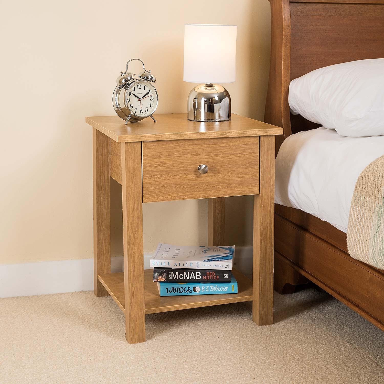 Wooden Bedside Table Oak Laminate 1 Drawer Bedroom Nightstand ...