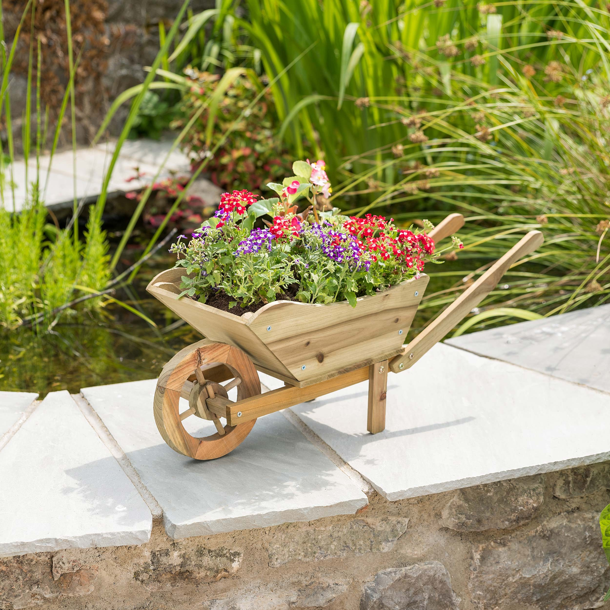 Wooden Wheelbarrow Garden Planter Outdoor Patio Flower