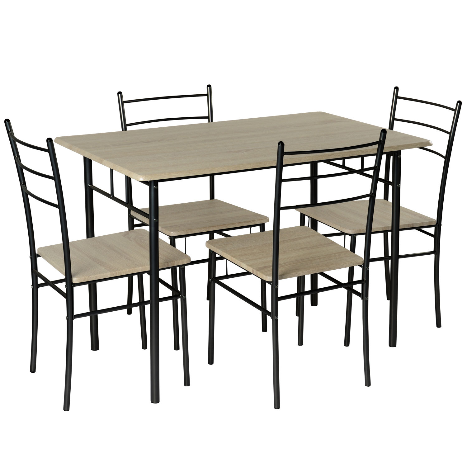 5 Piece Modern Dining Table And 4 Chairs Set Textured Wood