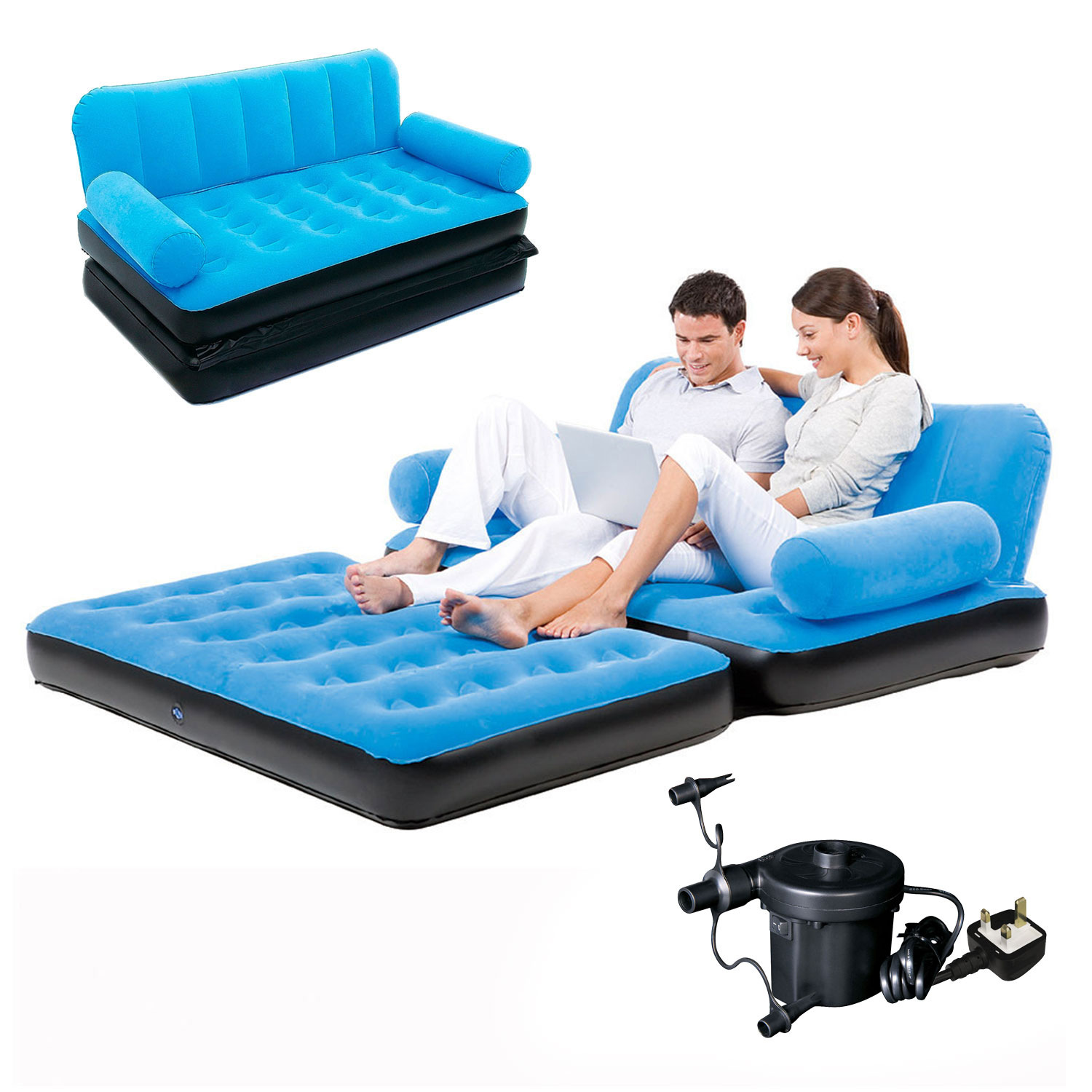 7b1c755f669 Details about Inflatable Sofa Bed Double Airbed Couch Blow Up Lounger Air  Mattress With Pump
