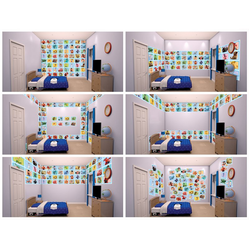 Walltastic Disney Wallpaper Collage Kidu0027s Blue 64 Piece Bedroom Wall  Stickers